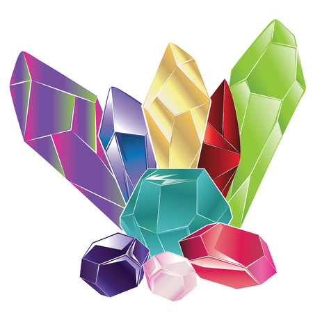 Abstract colorful rock crystal design in different shapes on white background.
