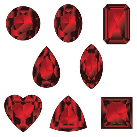 Collection de pierres précieuses, cristaux de couleur rouge dans différentes formes.