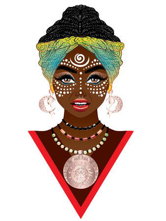 Young african woman wears turban with tribal voodoo makeup.