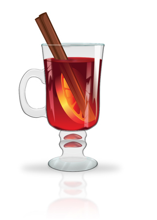 Decorative glass of hot mulled wine with orange slice and cinnamon stick. Stok Fotoğraf