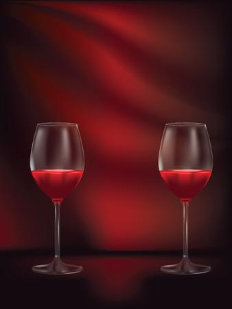 Tasty red wine in a glass design illustration.
