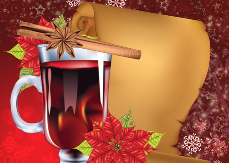 Decorative background with glass of hot mulled wine with orange slice, cinnamon stick and poinsettia design. Banque d'images - 116859195