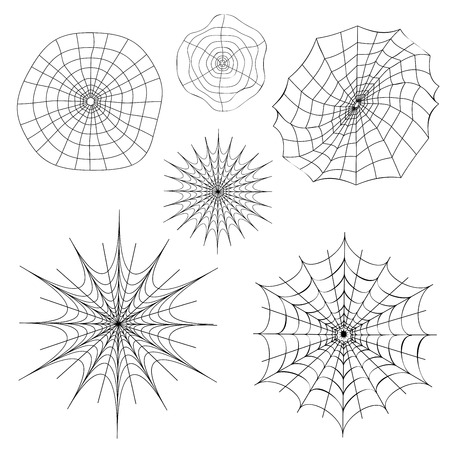Cartoon spider web silhouettes collection illustration on white background. Ilustração