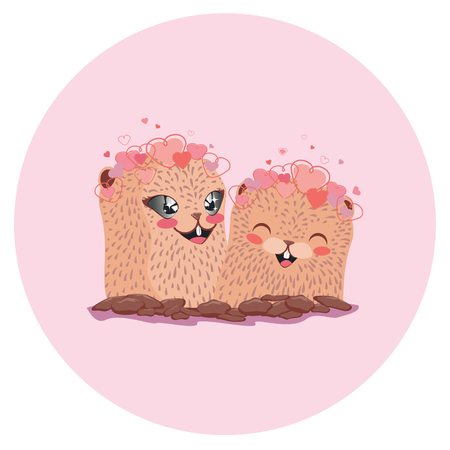 Cartoon kawaii groundhog with lovely hearts, valentines day greeting. Illustration