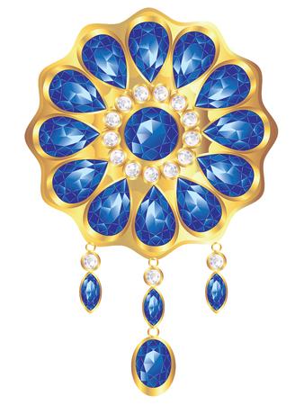 Conception de broche dorée à la mode avec des pierres précieuses de perles et de saphirs. Vecteurs