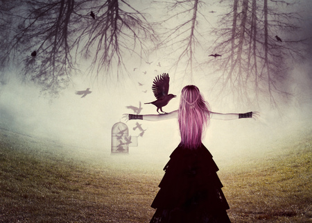 Dark foggy scene with a 3d rendered witch woman with a crows, digital illustration. Imagens