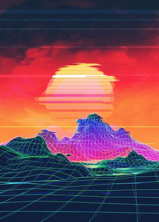 Neon glowing grid rocks, retro futuristic landscape design.