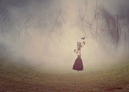 Dark foggy scene with a 3d rendered witch woman with a crows, digital illustration. 写真素材