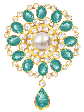 Fashion golden brooch design with pearl and emerald gems. Banque d'images - 125248204