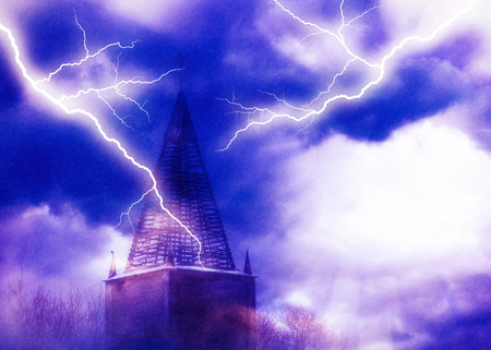 Distressed old brick tower during thunderstorm, dramatic illustration. Imagens - 117753424