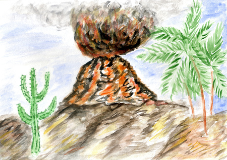 Hand drawn landscape with volcano eruption watercolor illustration.