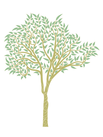 Stylized eucalyptus tree, abstract tree design with leafage. Ilustração