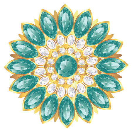 Fashion golden brooch design with pearl and emerald gems. Ilustração