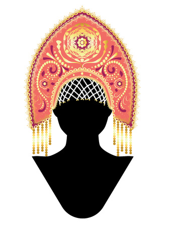 Fashion traditional female russian headdress kokoshnik design illustration.