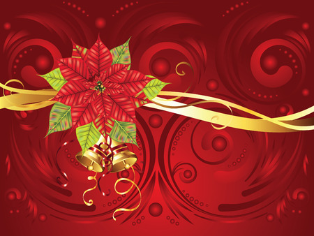 Decorative Christmas banner with red poinsettia ornament.