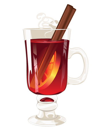 Hot winter drink, mulled wine glass design illustration.