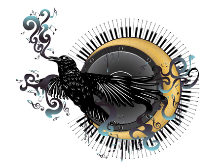 Black raven over crescent moon with audio speaker and piano keyboard with music notes.
