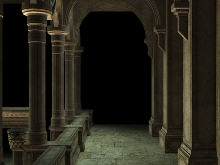 Ancient interior of corridor with pillars and arches, 3d rendered illustration.