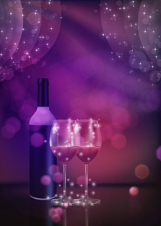 Tasty red wine in a glass design, holiday illustration. Stock Photo