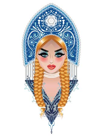 Fashion blonde girl with braids wears native russian headdress kokoshnik design.