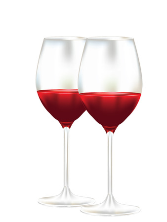 Tasty red wine in a glass design illustration.