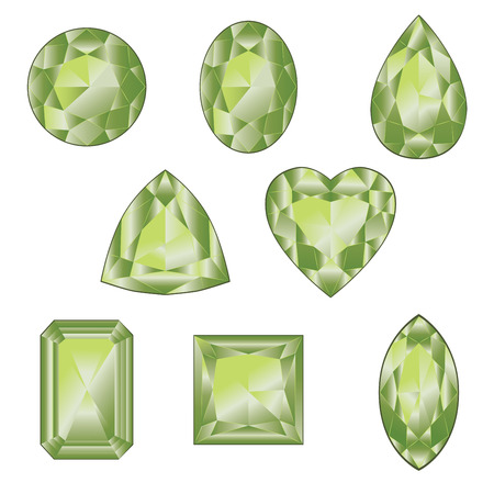Precious gemstones, crystals of green color in different shapes collection.