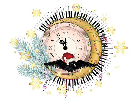 Vintage style clock with crow, crescent moon, fir tree branch and music notes design.