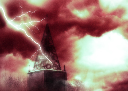 Distressed old brick tower during thunderstorm, dramatic illustration.