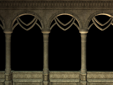 Ancient wall with pillars and arches, 3d rendered illustration. Banque d'images - 119641273