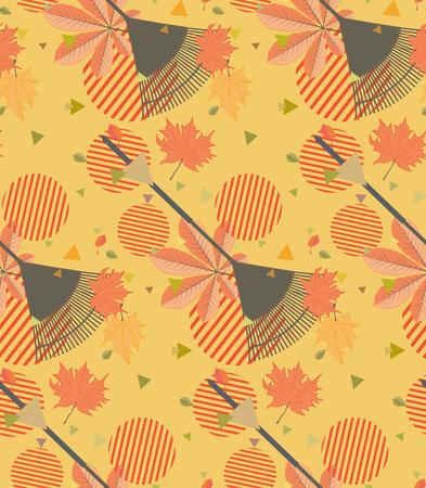 Autumn fallen leaves with rake design illustration.
