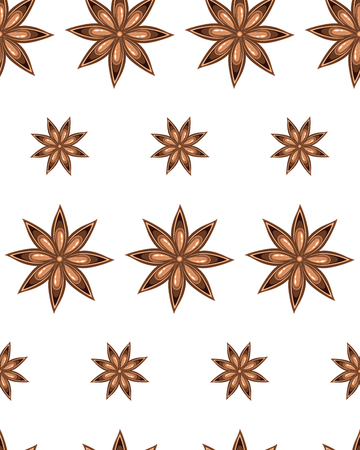 Aromatic spice star of anise illustration on white background. Banque d'images - 124075533