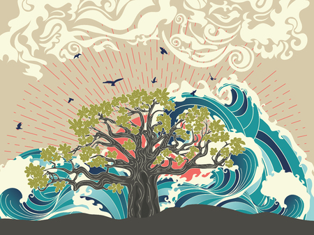 Stylized tree and stormy ocean or sea at sunset, art poster design.