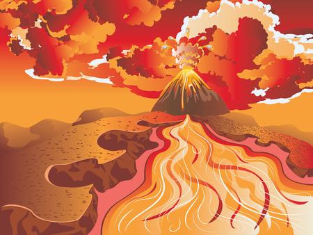 Streaming río en las rocas y fondo de gran volcán.