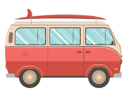 Ilustración del diseño retro de la furgoneta que viaja en el fondo blanco. Ilustración de vector