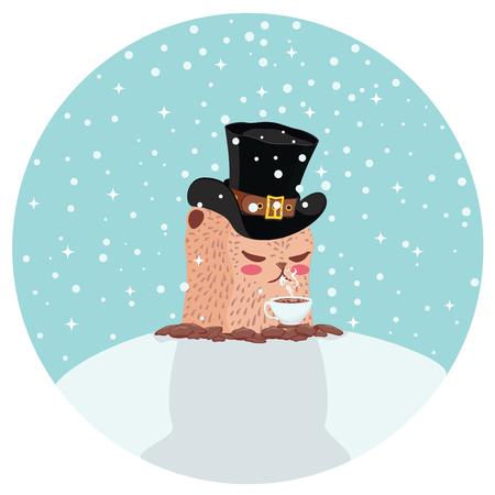 Cartoon kawaii animal, groundhog day greeting illustration. Illustration