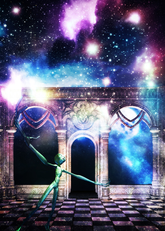 Mysterious ancient hall with starry galaxy texture and full moon, green alien, 3d rendered illustration. Elements for this image is furnished by NASA