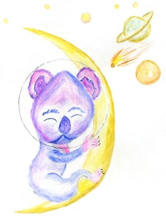 Cartoon kawaii koala character hand drawn illustration.