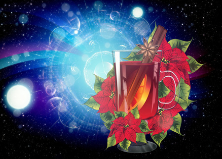 Decorative background with glass of hot mulled wine with orange slice, cinnamon stick and poinsettia design.