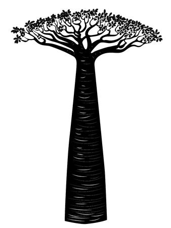 Stylized baobab tree, abstract tree silhouette design illustration. Ilustração Vetorial