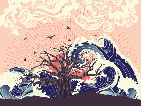 Gestileerde boom en stormachtige oceaan of zee bij zonsondergang, art poster design.