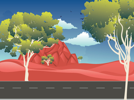 Cartoon red desert, Australian landscape with trees illustration.