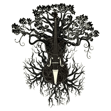 Vintage violin silhouette with tree branches illustration. Ilustracja