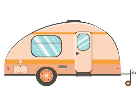 Cartoon camper trailer, travel mobile home design.
