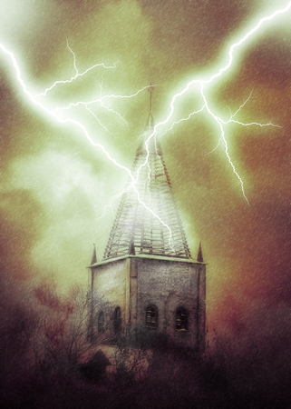 Distressed old brick tower during thunderstorm, dramatic illustration. Imagens - 121525754