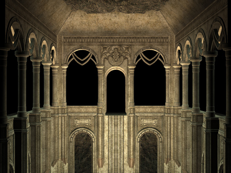Ancient wall with pillars and arches, 3d rendered illustration. Banque d'images - 121525846