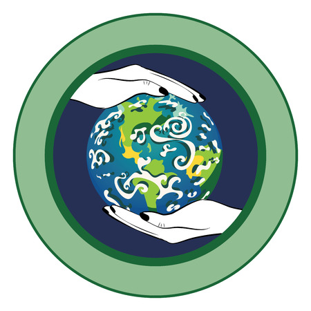 Cartoon human hands holding Earth planet, eco themed design.
