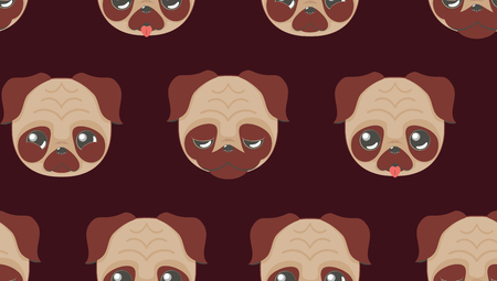 Cartoon kawaii pug face in different expressions illustration. Illustration