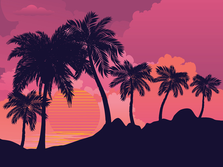 Palm trees on tropical island landscape, sunrise or sunset background.