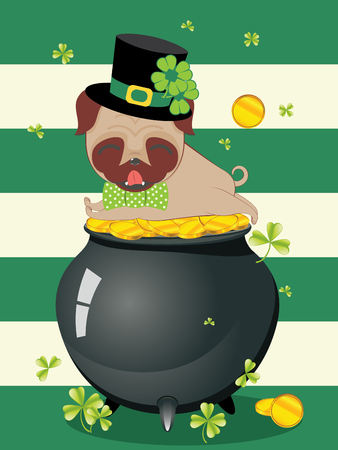 Cartoon kawaii pug with green shamrock design. Illustration