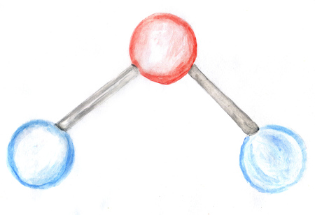 Watercolor molecule of water abstract design, hand drawn illustration. Standard-Bild - 122615745
